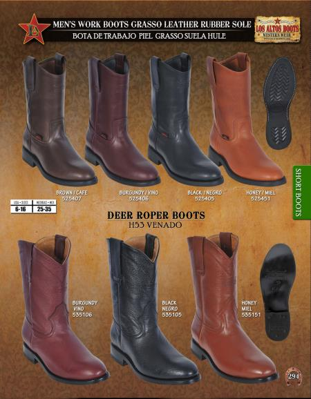 Product# ER45 Authentic Los altos Leather & Deer Roper Work Short Boots Diff. Colors/Sizes