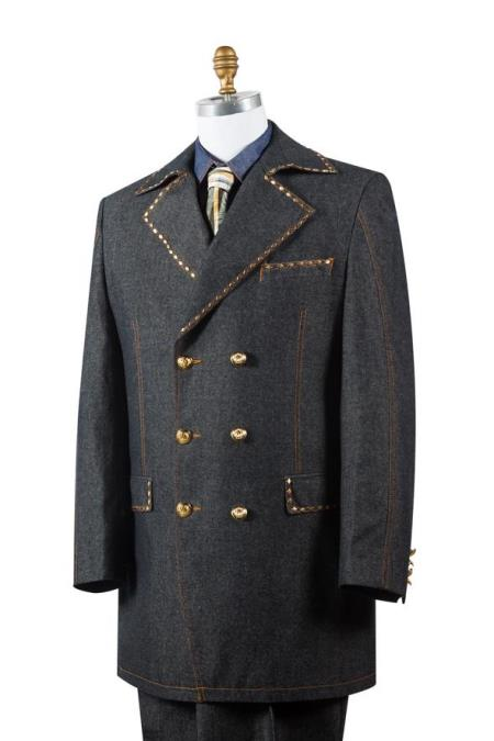 Product# JA136 Mens Stylish Trench Collar Brass Accent Denim Black Zoot Suit