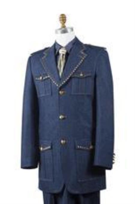 Safari Blue Denim Military Style Jean Fashion 1940s men's Suits Style