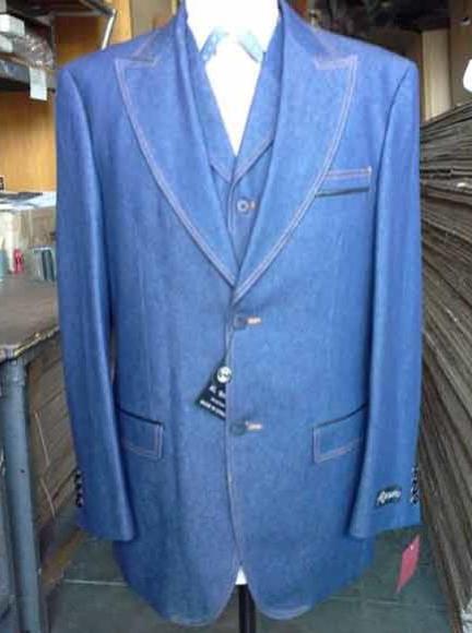 Men's 2 Buttons Denim Blue Vested Suit Pleated Pants