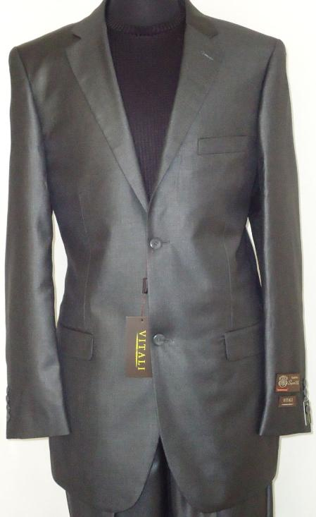 Mens Designer 2 Button Shiny Charcoal Gray Sharkskin Suit