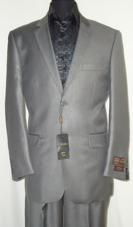 SLG8882 Designer 2-Button Shiny Silver Gray Sharkskin Suit