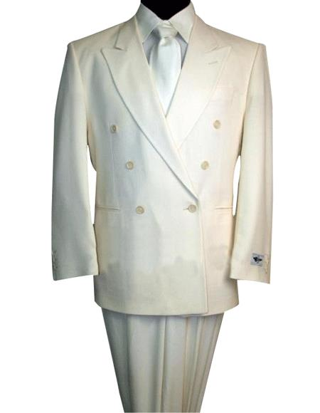 2pc SHARP Double Breasted DRESS SUIT Off White (IVory/Cream)