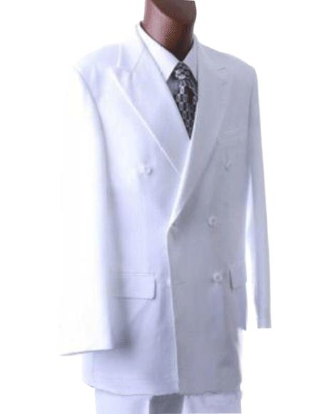 2pc SHARP Double Breasted DRESS SUIT Snow Solid White