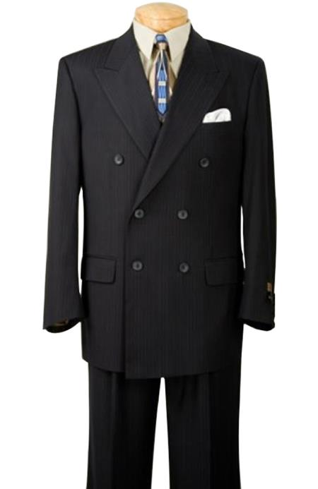 Conservative Double Breasted Dark Navy Blue Shade Thin Small Pinstripe Suit Side Vents