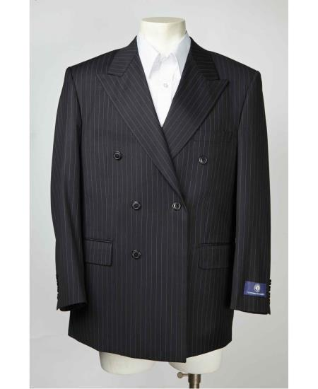 Product# SM609 Pinstripe Double Breasted Liquid Jet Black Peak Lapel Blazer Online Sale