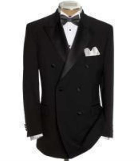 Product# GBB79 1920s Style Double Breasted Tuxedo Shirt & Bow Tie Package 6 on 2 Button Style Closer Style Jacket