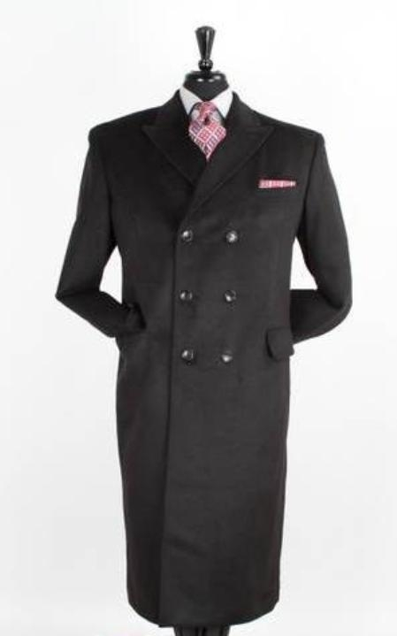 Product# JR5980 48 Inch Long Wool Fabric Blend Double breasted Peacoat Full Length Top Coat Liquid Jet Black