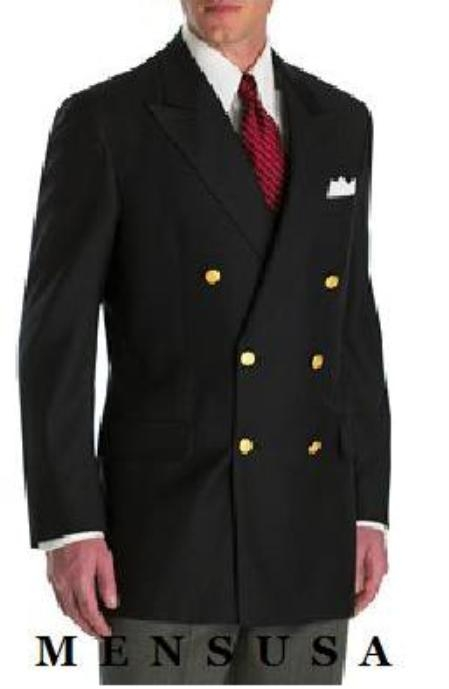 High Quality Liquid Jet Black Double Breasted Blazer Online Sale With Best Cut & Fabric