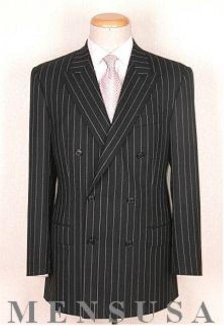 Product# 332 Top Quality Superior Fabric Soft Liquid Jet Black Pinstripe Double Breasted Peack Lapel Pleated Slacks Pants Vented