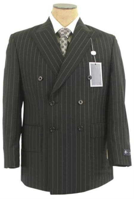 Product# ZD22 Jet Liquid Jet Black & Chalk White Pinstripe Double Breasted Comes in 3 Colors