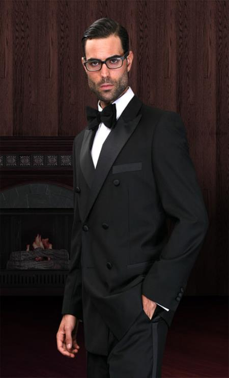 Product# KA3139 Double Breasted 1920s Style Liquid Jet Black Tuxedo Superior Fabric 150's Discount Online Sale Designer