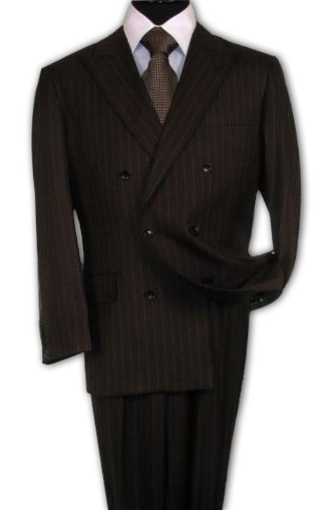 brown color shade Suit With Smooth Stripe ~ Pinstripe Non Back Vent Close Split In Back With Pleated Slacks Pants