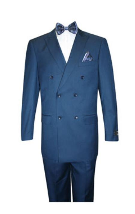 Product# SS-7514 Superior Fabric 150's Extra Fine Classic Double Breasted Suit Cobalt ~ Indigo