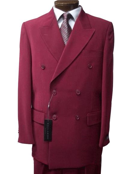 2pc SHARP Double Breasted DRESS SUIT Burgundy ~ Maroon ~ Wine Color Suits for Online