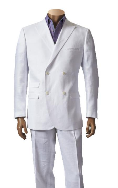 Product# RA36 Double Breasted Linen Suit Blazer Online Sale Sport Coat Jacket and Flat Front Pants Style White