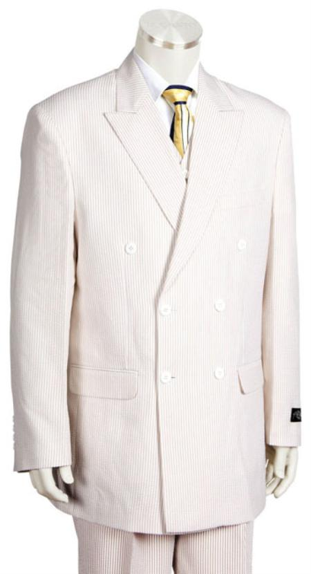 Product Lk7085 Unique Double Breasted Summer Cheap Priced Mens Searsucker Seersucker Sale Fabric Suit In Soft Poly Rayon White