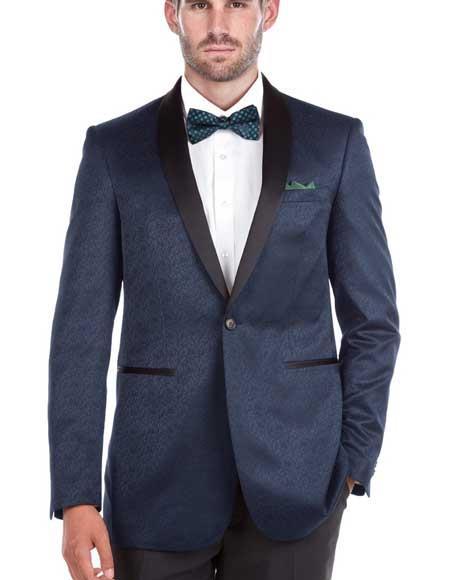 Men's Blue Slim Fit Shawl Collar Textured Double Vent Tuxedo Blazer