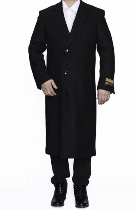men's Alberto Nardoni Best men's Italian Suits Brands Full Length Wool Dress Top Coat / Overcoat in Black