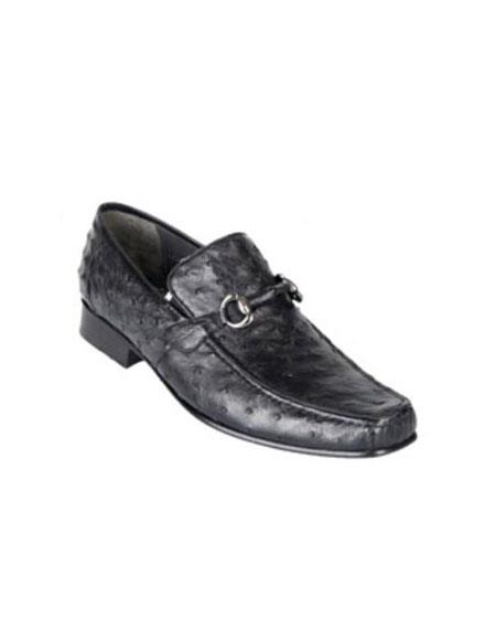 Los Altos Genuine Ostrich Quill Bit Loafers Black Shoes