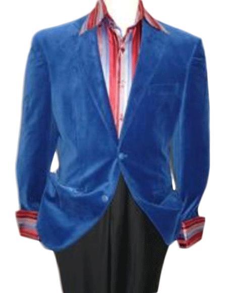 Velvet Blazer - Mens Velvet Jacket royal blue pastel color Velvet Blazer Online Sale Jacket