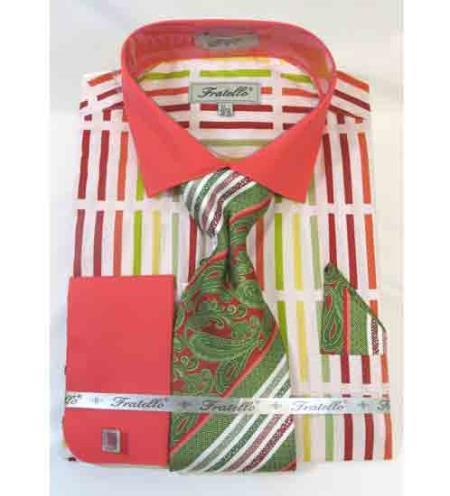 Fratello pronounce visible Stripe Multi Pattern French Cuff Dress Shirt Coral Multi