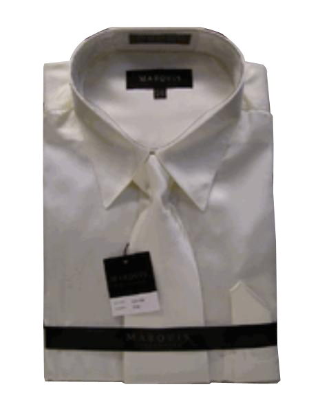 New Cream Ivory Satin Dress Shirt Tie Combo Shirts
