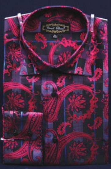 Product# JSM-2779 Men's Fuchsia Fancy Shiny Paisley High Collar Pink Color Dress Shirt