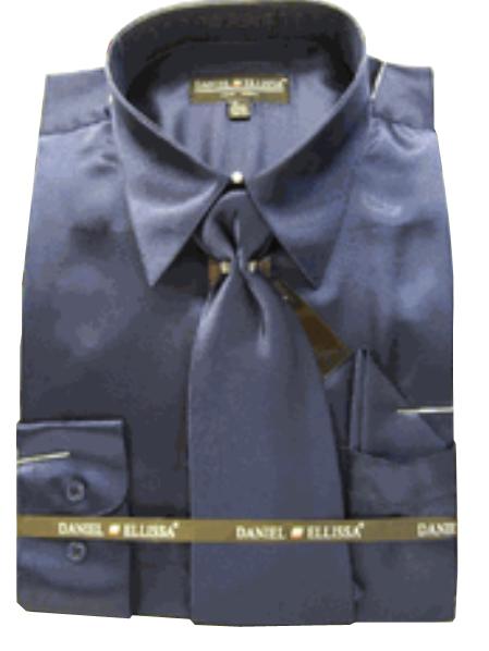 New Navy Satin Dress Shirt Tie Combo Shirts