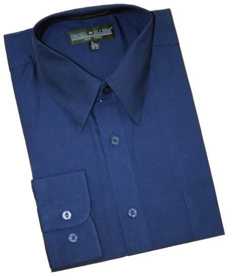 Navy Blue Shade Cotton Blend Dress Shirt With Convertible Cuffs