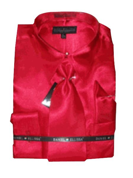 New red color shade Satin Dress Shirt Tie Combo Shirts