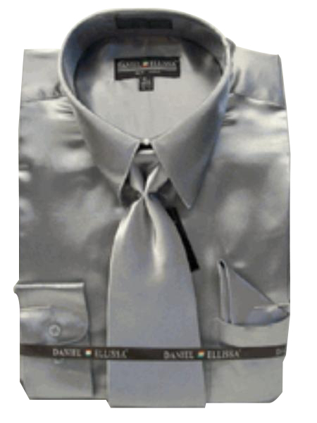 New Silver Satin Dress Shirt Tie Combo Shirts