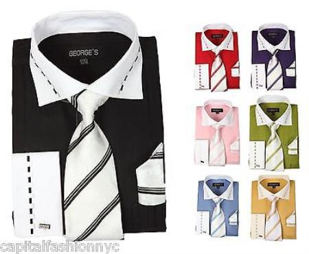 Product# PN-H8 Causal Formal Dress Shirt Tie Handkerchief Set Tonal Striped Multi-Color