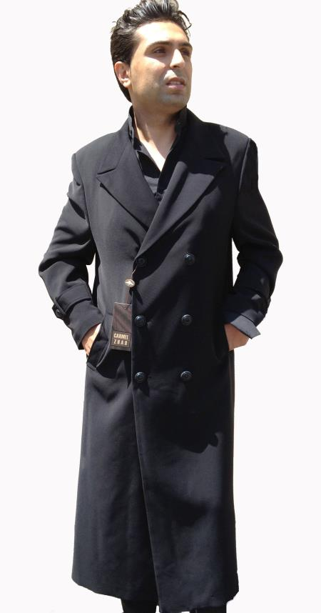 Top Coat, Full Length overcoats outerwear Double Breasted 6 on 3 Buttons, 50 Length with Tabs on Sleeves Liquid Jet Black
