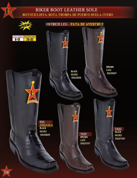 cd65a571461 Product# E3V Authentic Los altos Genuine Eel/Ostrich/Lizard Leather Sole  Biker Cowboy Western Boot