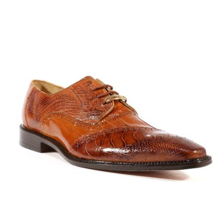 Product# JSM-1716 Men's Nino Eel Ostrich Oxfords Belvedere Camel Shoes