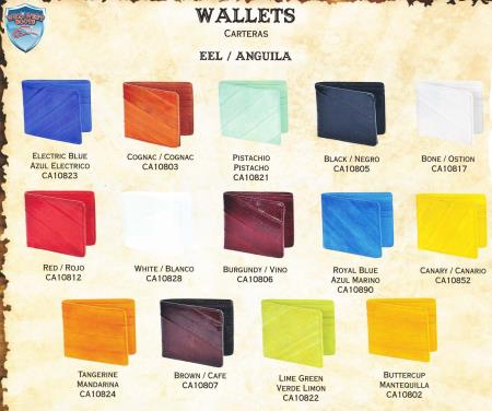Product# 4NA2 Genuine Eel Single-Fold Wallets Different Colors Available