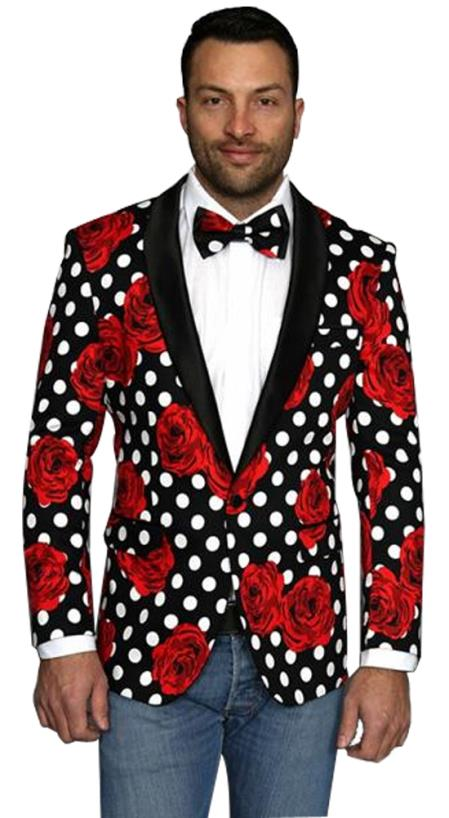men's Fashion Flower floral print / Prom / Wedding Black Shawl Lapel Sport Coat Blazer Perfect For Prom Clothe - Prom Outfits For Guys