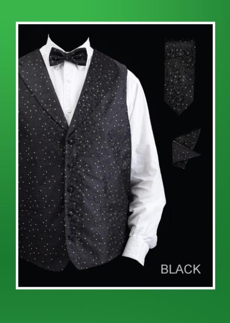 Product# JKA5 4 Piece Vest Set (Bow Tie, Neck Tie, Hanky) - Lapelled Vest Liquid Jet Black