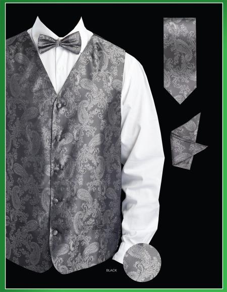 Product# KJS9 4 Piece Vest Set (Bow Tie, Neck Tie, Hanky) - Shiny Paisley Jacquard Liquid Jet Black