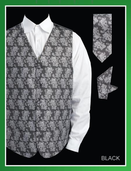 Product# BHH92 4 Piece Vest Set (Bow Tie, Neck Tie, Hanky) - Paisley Jacquard Liquid Jet Black