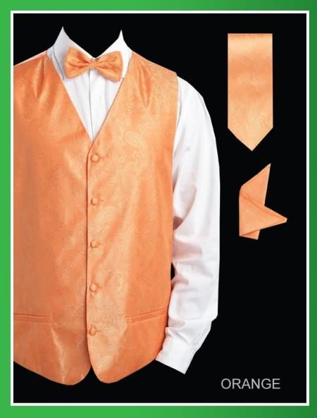 Product# NNW3 4 Piece Vest Set (Bow Tie, Neck Tie, Hanky) - Shiny Paisley Jacquard Orange