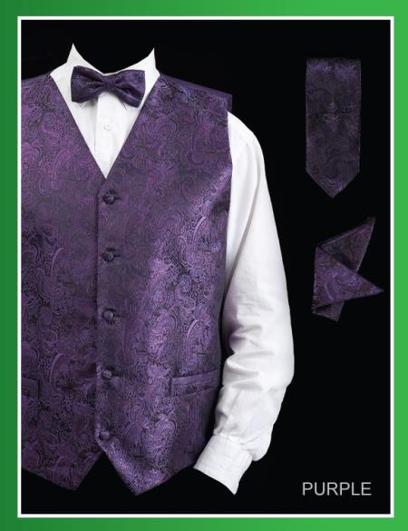 Product# PSJ8 4 Piece Vest Set (Bow Tie, Neck Tie, Hanky) - Paisley Design Purple color shade