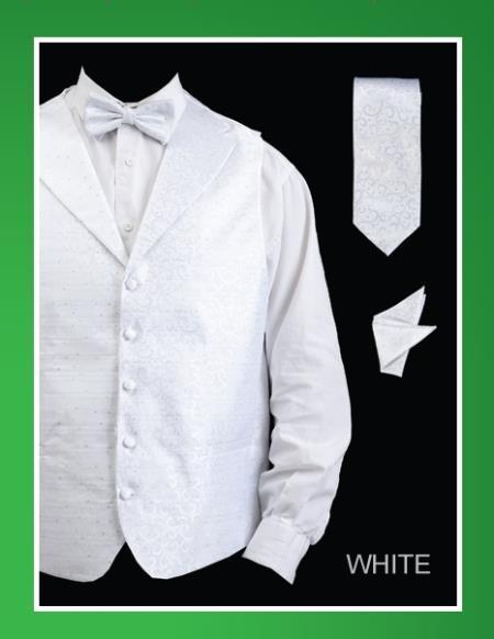 Product# WTW22 4 Piece Vest Set (Bow Tie, Neck Tie, Hanky) - Lapelled Vest White