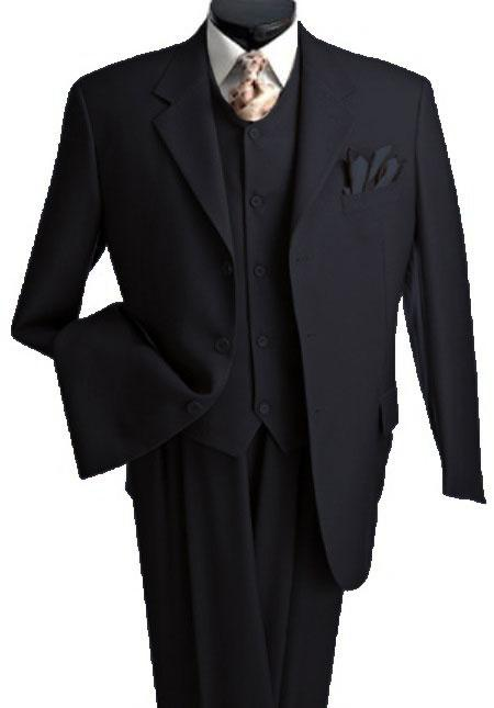 T633TR_KR 3 Piece Premium Fine Liquid Jet Black three piece suit