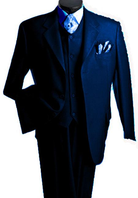 3 Piece Premium Fine Drak Blue three piece suit