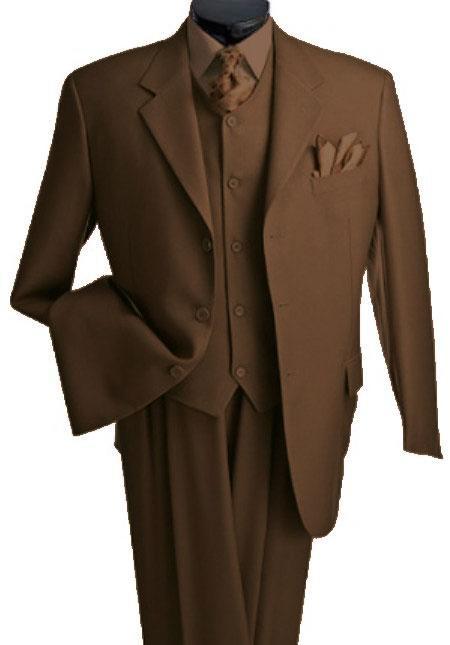 Product# T633TR_KR 3 Piece Premium Fine brown color shade three piece suit