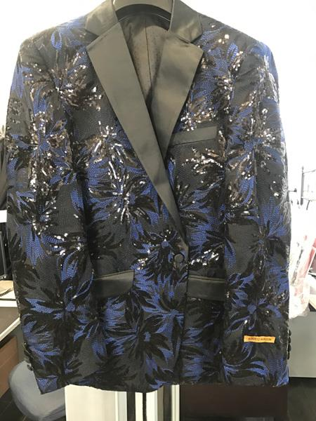 Product# JS397 Alberto Nardoni Best Mens Italian Suits Brands Mens Navy ~ Black ~ Blue Tuxedo Unique Shiny Fashion Prom Floral ~ paisley ~ Sequin Blazer ~ Dinner Jakcet ~ Sport Coat