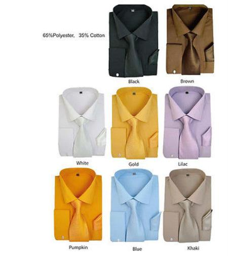 Product# PN-G48 Stylish Formal Classic Solid Dress Shirt w/ Tie And Handkerchief Set Multi-color