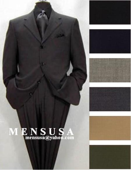 Product#ZX33 High Quality 4 Button Style Solid Colors Pleated Slacks Pants 100% Worsted Wool Fabric